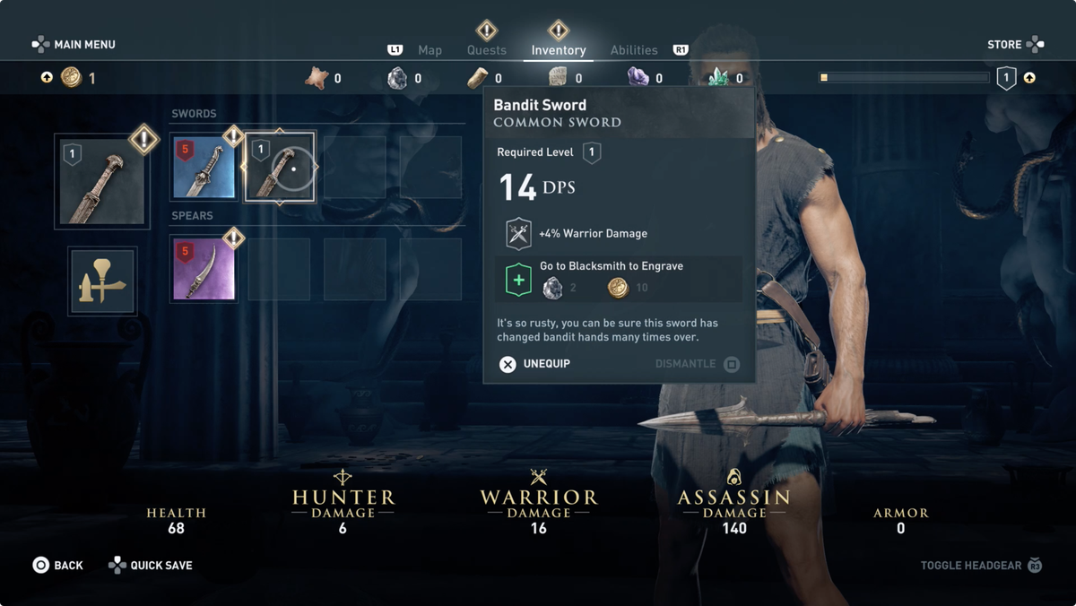 Assassin's Creed Odyssey: Upgrading and improving your weapons and