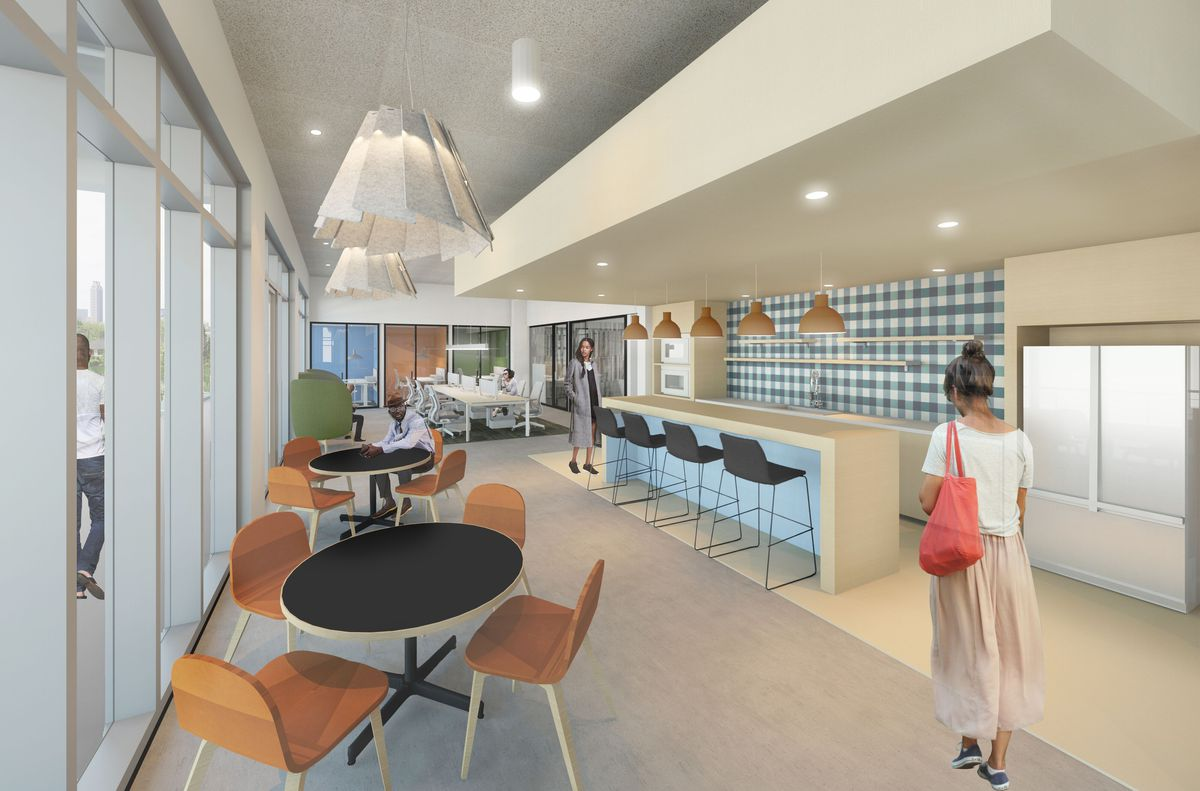 A rendering shows a cafe-style coworking space with round tables and bar seating.
