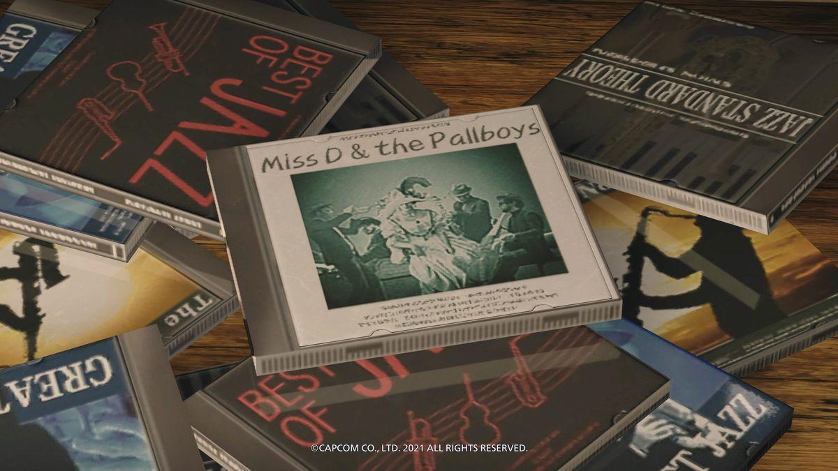 Ekrānuzņēmums no dažādiem kompaktdiskiem Ethan Winters kolekcijā no Resident Evil Village