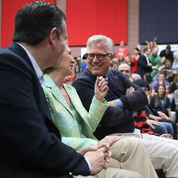 GOP presidential candidate and Texas Sen. Ted Cruz, left, former candidate Carly Fiornia and talk show host Glenn Beck talk after Fiornia's remarks during a rally in Draper at the American Preparatory Academy Saturday, March 19, 2016.