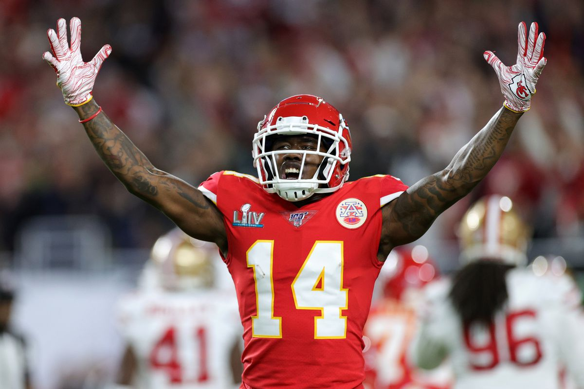 Sammy Watkins #14 of the Kansas City Chiefs reacts in the first quarter in Super Bowl LIV against the San Francisco 49ers at Hard Rock Stadium on February 02, 2020 in Miami, Florida.
