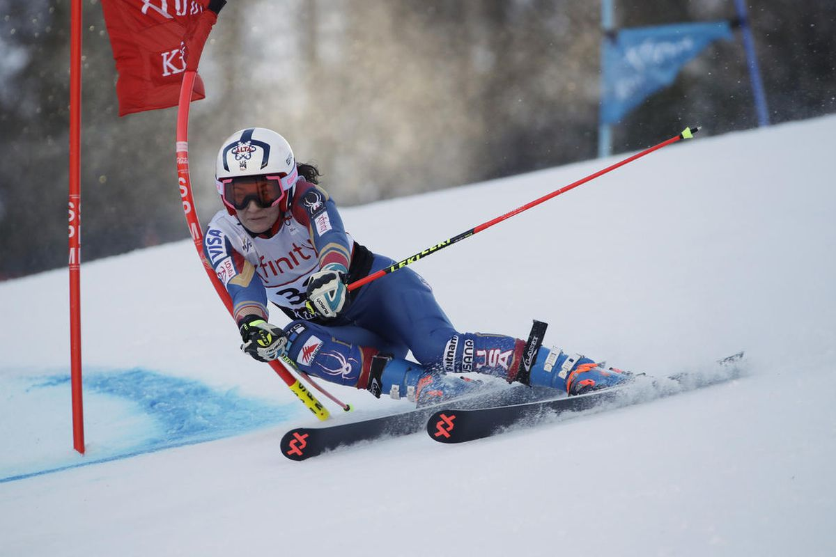 Megan McJames, of the United States, competes during her first run in the women's FIS Alpine Skiing World Cup giant slalom race, Saturday, Nov. 25, 2017, in Killington, Vt.