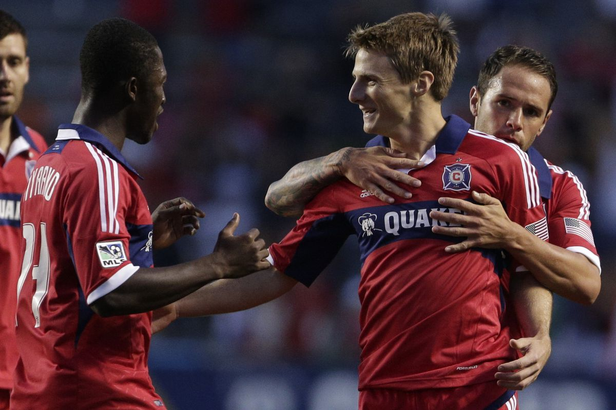 Chris Rolfe (center) has been celebrating a lot of goals since returning to MLS with the Chicago Fire. D.C. United will need to keep tabs on him throughout to shut down a tricky Fire attack.
