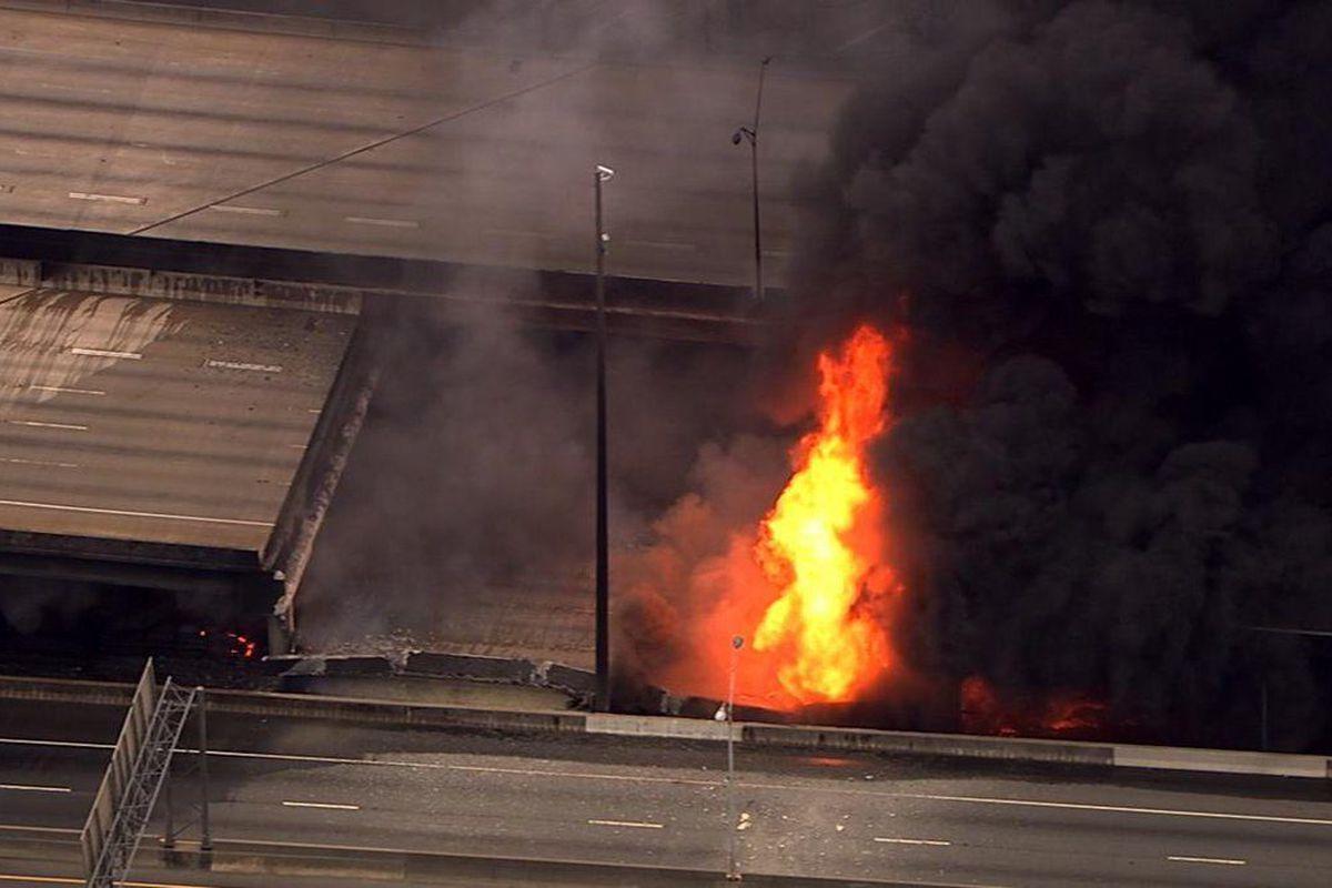All northbound lanes of Interstate 85—a crucial Atlanta corridor—plummet Thursday evening.