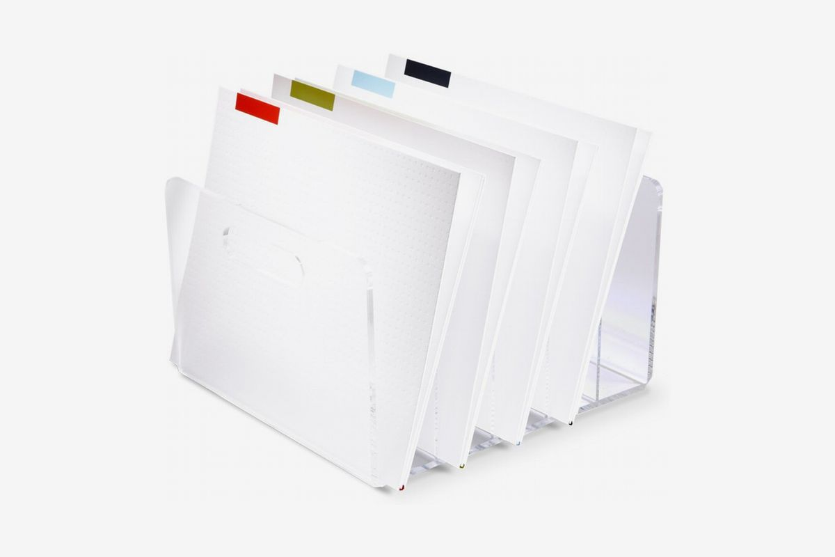 Transparent file folder with colored tabs on white dividers.