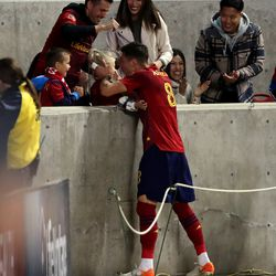 Real Salt Lake midfielder Damir Kreilach (8) celebrates a first-half goal with his family as Real Salt Lake and the LA Galaxy play at Rio Tinto Stadium in Sandy on Wednesday, Sept. 29, 2021. Real won 2-1.