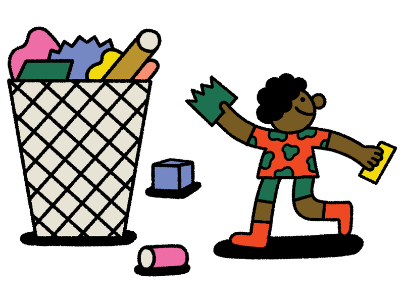 A child is walking to a trash can to throw out colorful trash. In the trash can is a pile of discarded trash. This is an illustration.