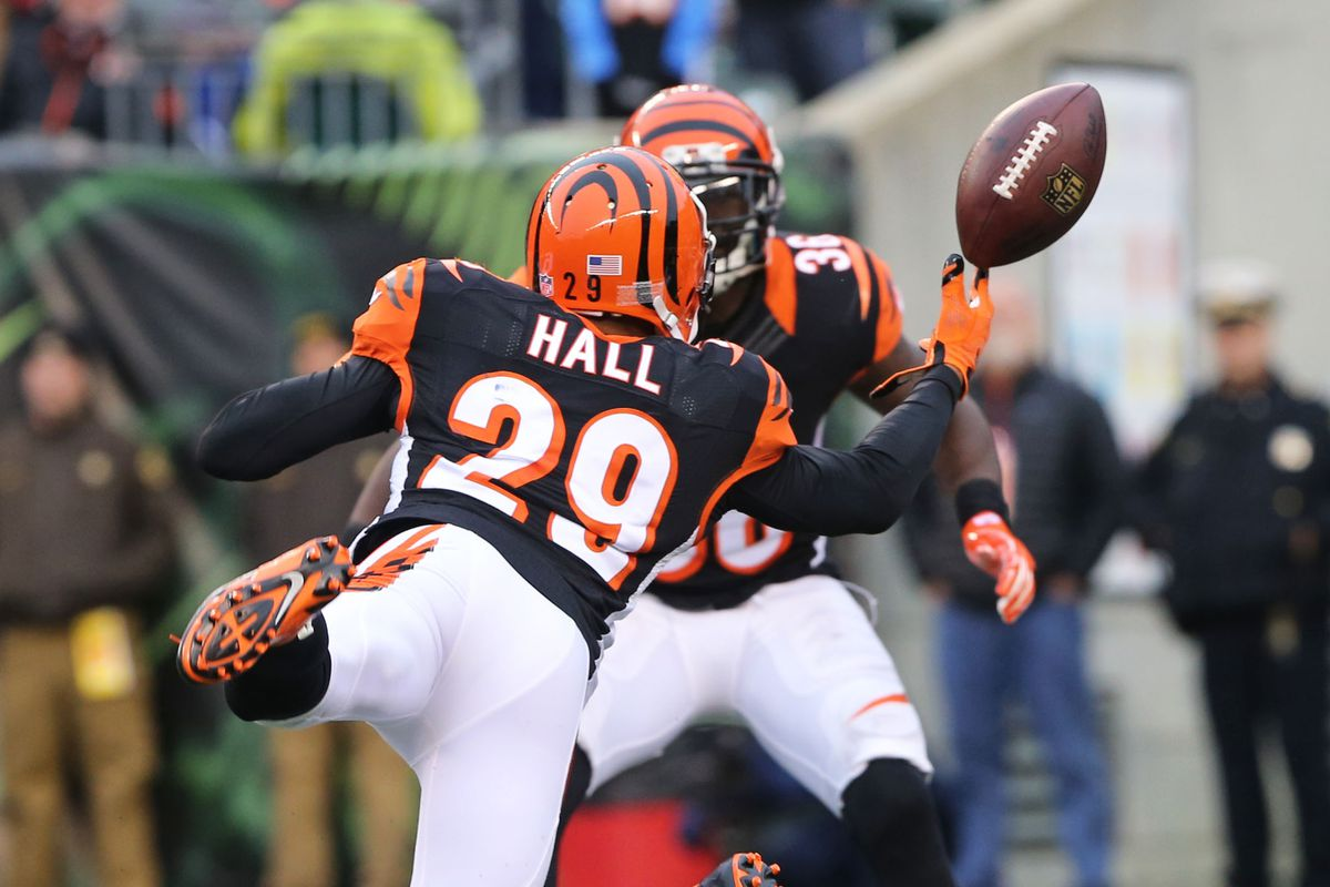 Leon Hall dives to break up a pass