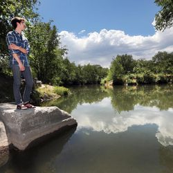 """Brian Tonetti, of the Seven Canyons Trust, talks about a proposal to """"daylight"""" the confluence of three Salt Lake Valley creeks — Emigration, Red Butte and Parleys — on Wednesday, May 31, 2017. The creeks empty into the Jordan River at about 1300 South and 900 West."""