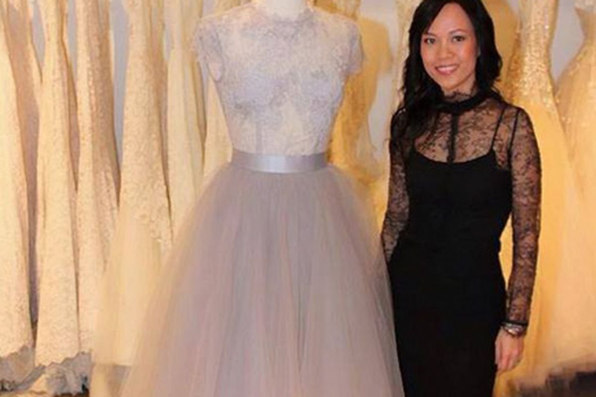 The designer and her bridal collection. Image via Nha Khanh/Facebook