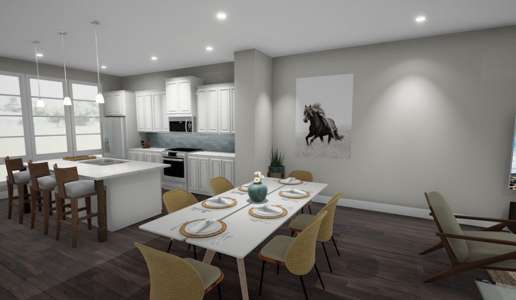 A rendering of a townhome's living room with gray walls and a large kitchen with a dining table.