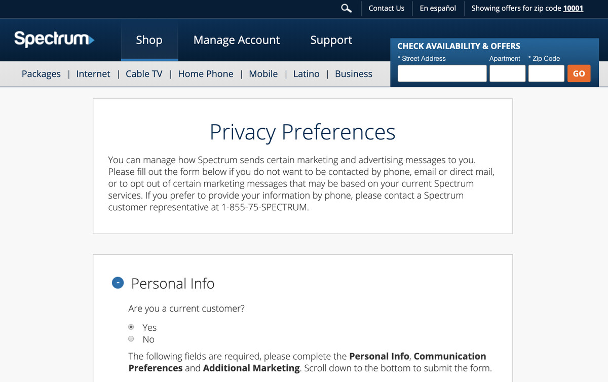 Spectrum Privacy Preferences