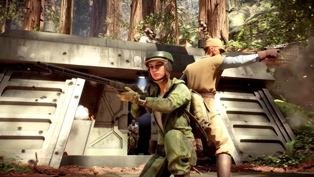 Two Rebel fighters from Star Wars: Return of the Jedi back-to-back, weapons drawn, in front of a bunker on Endor
