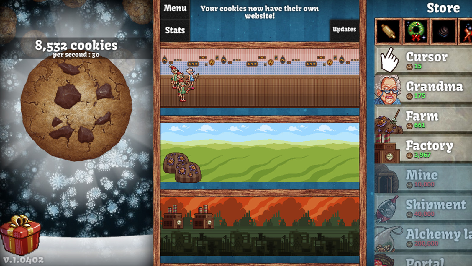 cookie clicker updated with christmas cheer