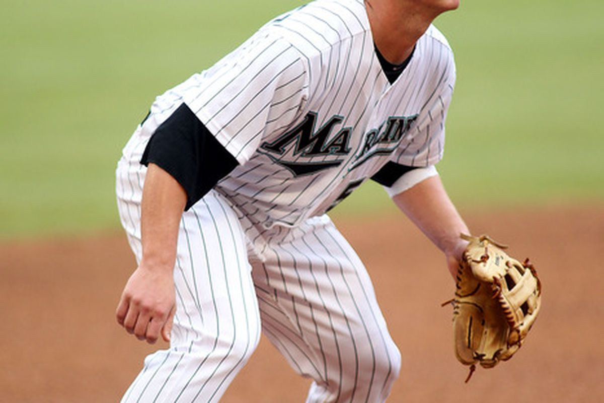 Third baseman Matt Dominguez of the Florida Marlins plays against the New York Mets at Sun Life Stadium on September 7, 2011 in Miami Gardens, Florida.  (Photo by Marc Serota/Getty Images)