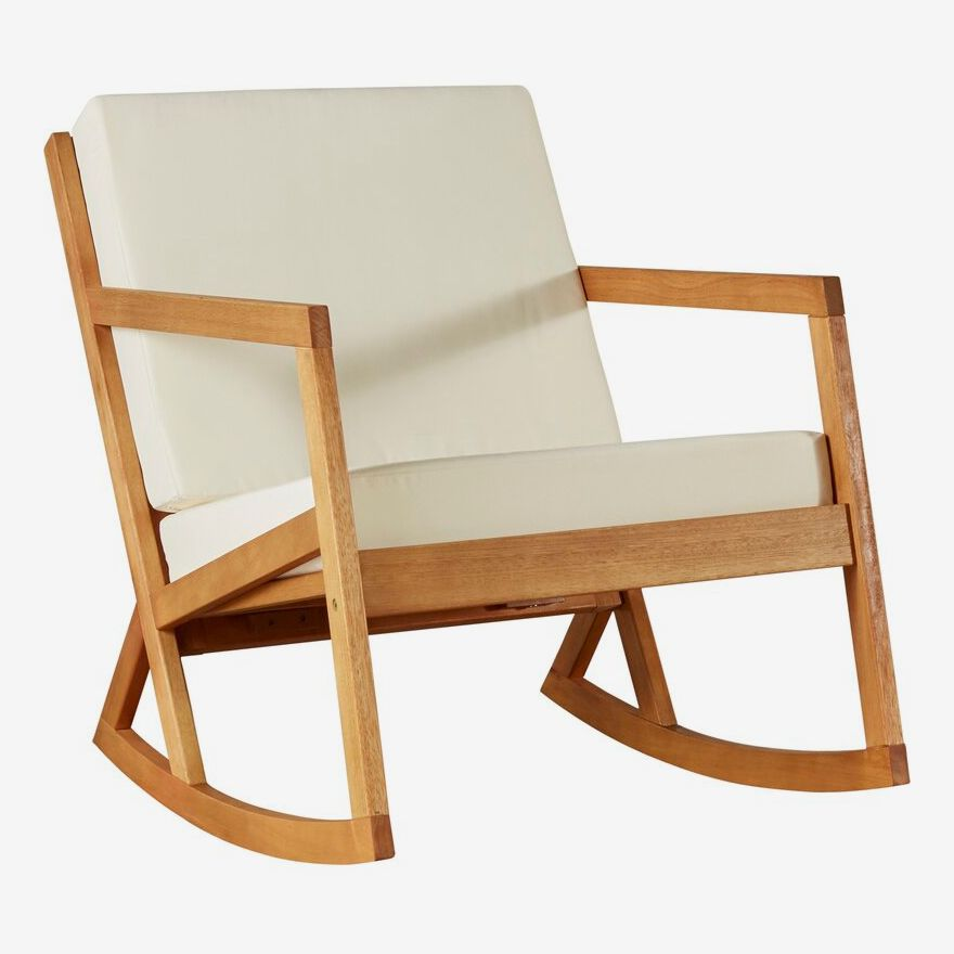 Wood and fabric rocking chair.