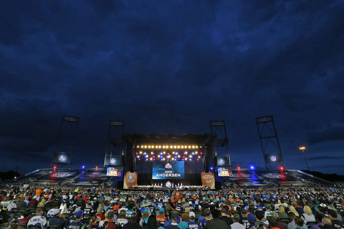 Clouds hover over the Tom Benson Hall of Fame Stadium during Morten Andersen's acceptance speech.