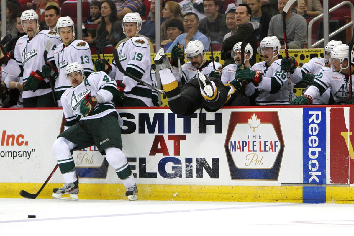 Why we miss Ortmeyer: Scores, leads, and sends guys ass over tea kettle into the bench. Photo by Morris Molina/Houston Aeros