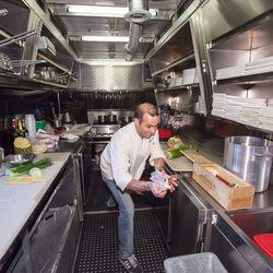 Inside the food trucks.