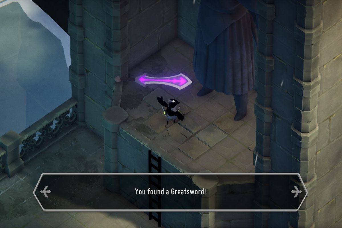 A crow triumphantly holds up a glowing purple greatsword