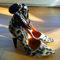 Leopard heels with ankle ties, $99