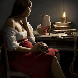 """""""The Puck boot appears in a recreation of the Georges de la Tour ionic piece and metaphor of the plight of the sacred female, 'Magdalene and the Flame'. Here, his oft used technique of illuminating subjects through the depiction of a light source"""