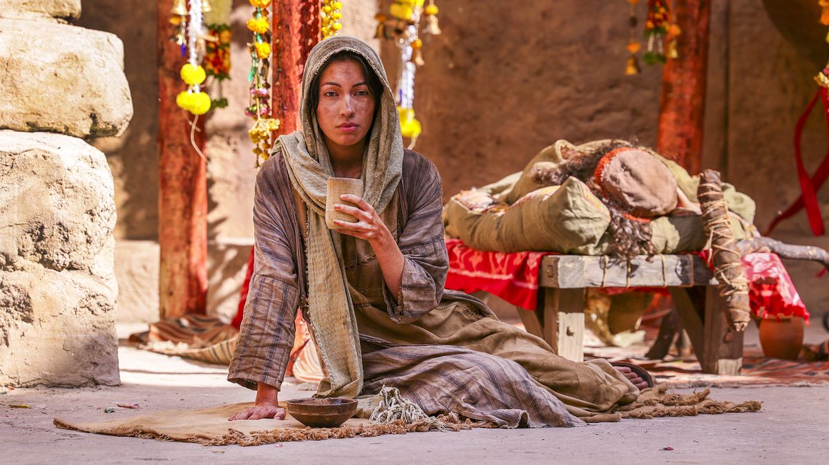 """An extra sits in the background during filming of a faith-based streaming series on the life of Jesus Christ called """"The Chosen"""" at The Church of Jesus Christ of Latter-day Saints' Jerusalem set in Goshen, Utah County, on Monday, Oct. 19, 2020."""