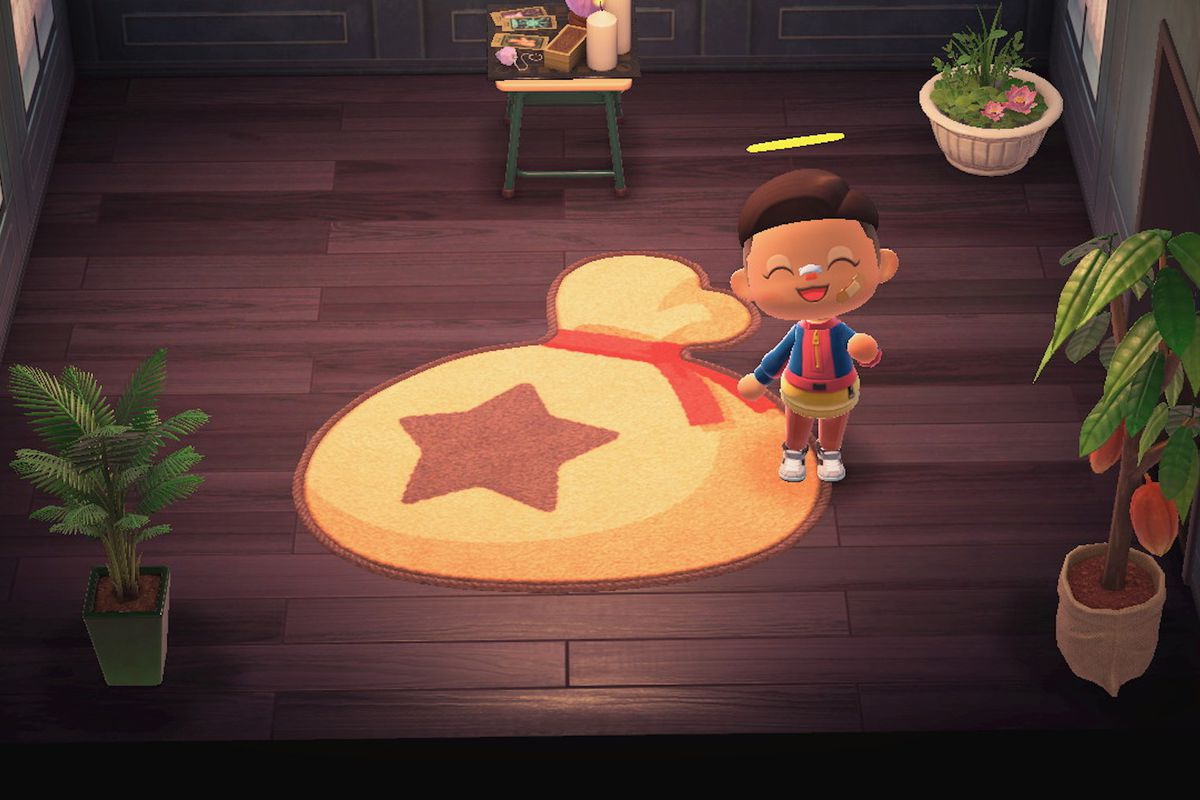 A bag of bells, in rug form, in Animal Crossing.