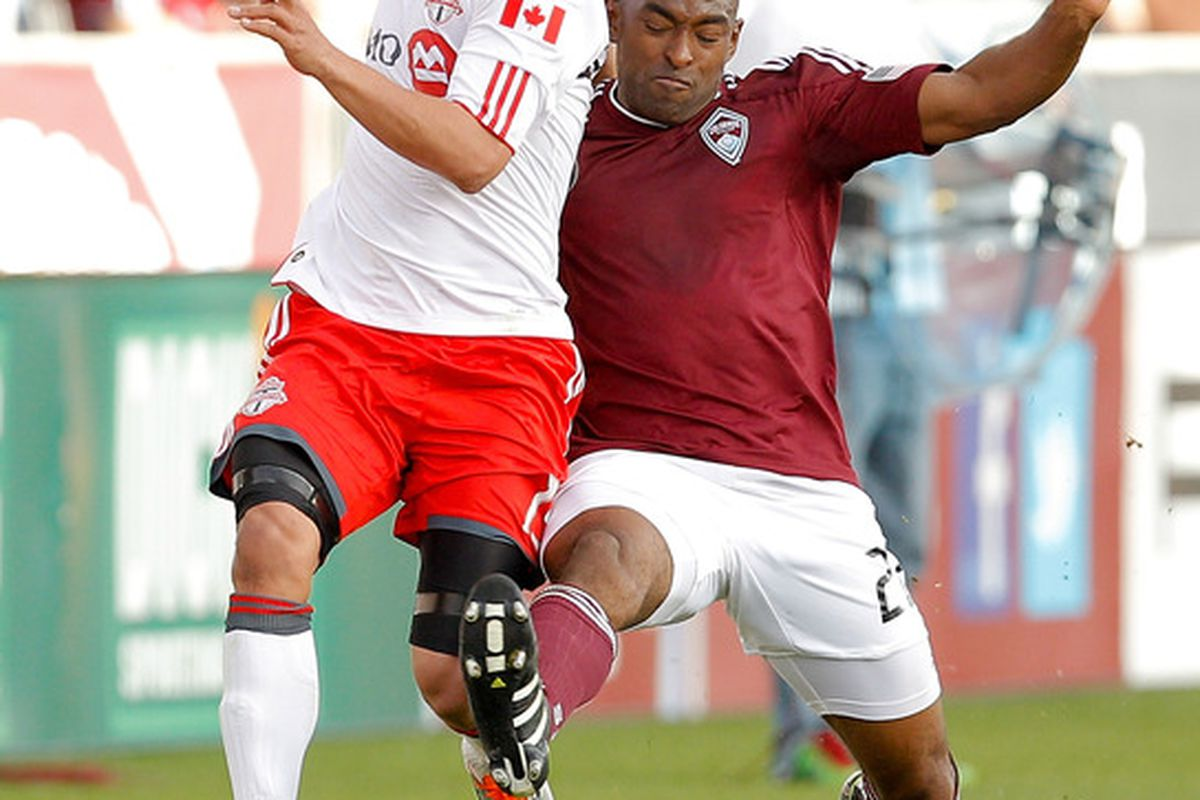 Marvell Wynne #22 of the Colorado Rapids, Mikael Yourassowsky #19 of Toronto FC (Photo by Justin Edmonds/Getty Images)