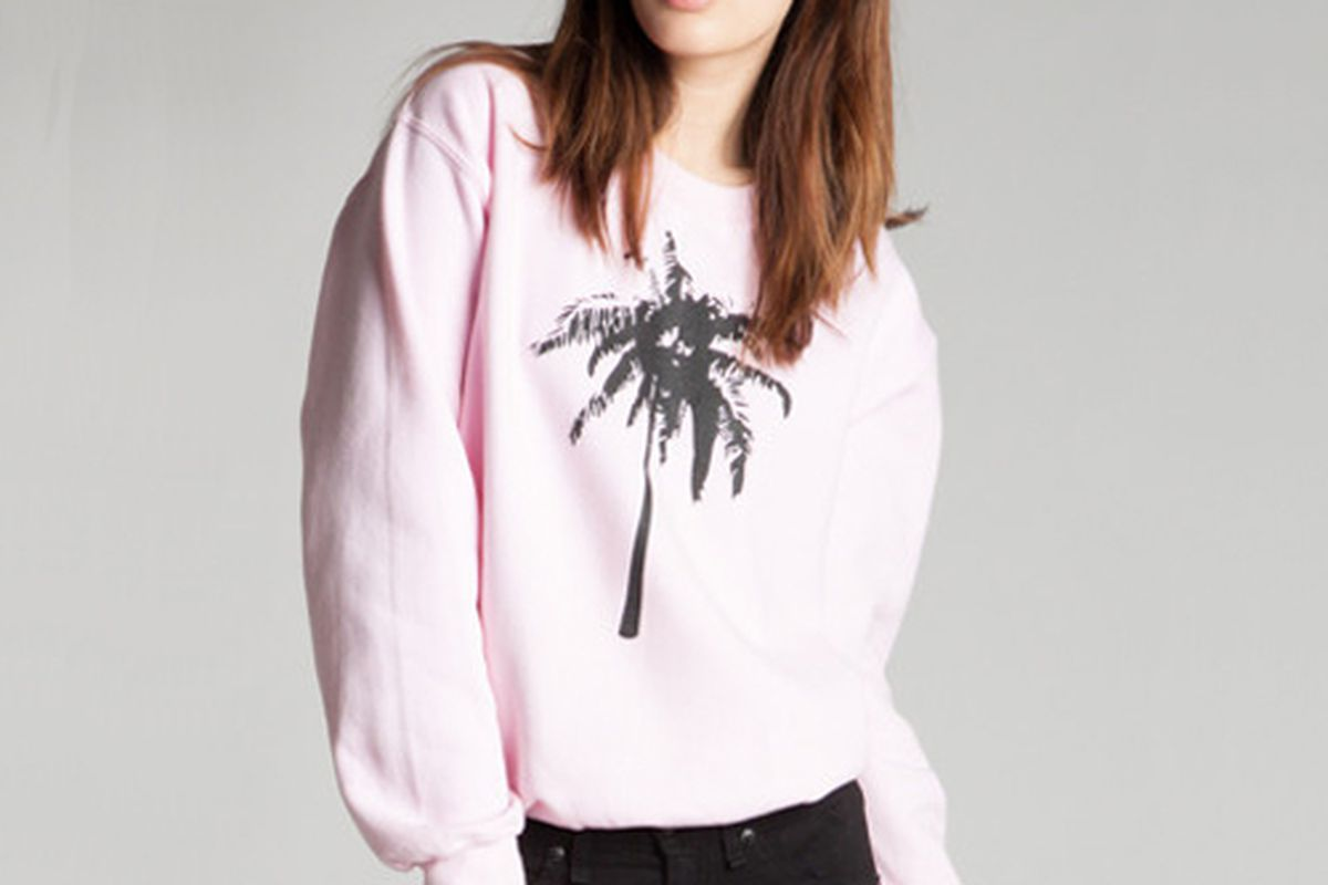 """Pink palm tree sweatshirt, <a href=""""http://shop.madeinhell-a.com/products/palm-tree-pink-sweatshirt"""">$75</a> at Made in Hell-A"""