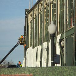 Sat 12/19: Workers on west side of ballpark -