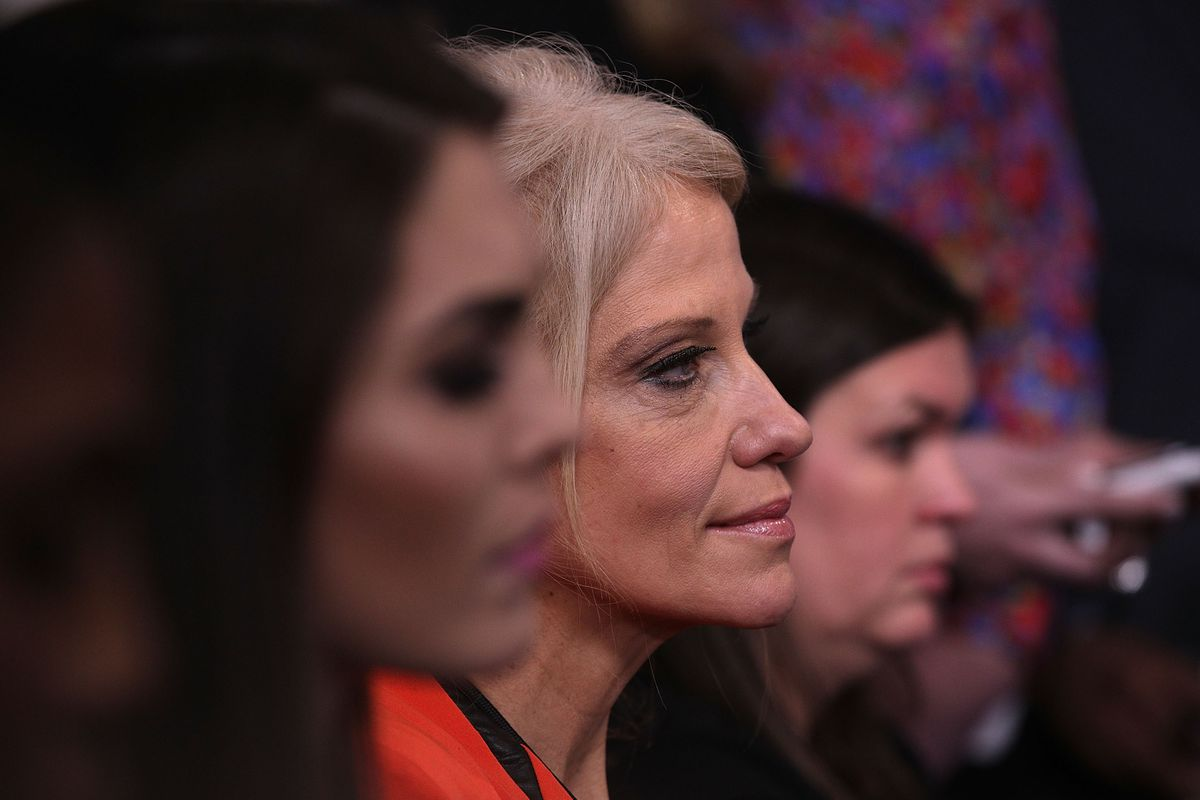 White House senior advisor Kellyanne Conway (C) listens during a daily briefing at the James Brady Press Briefing Room of the White House