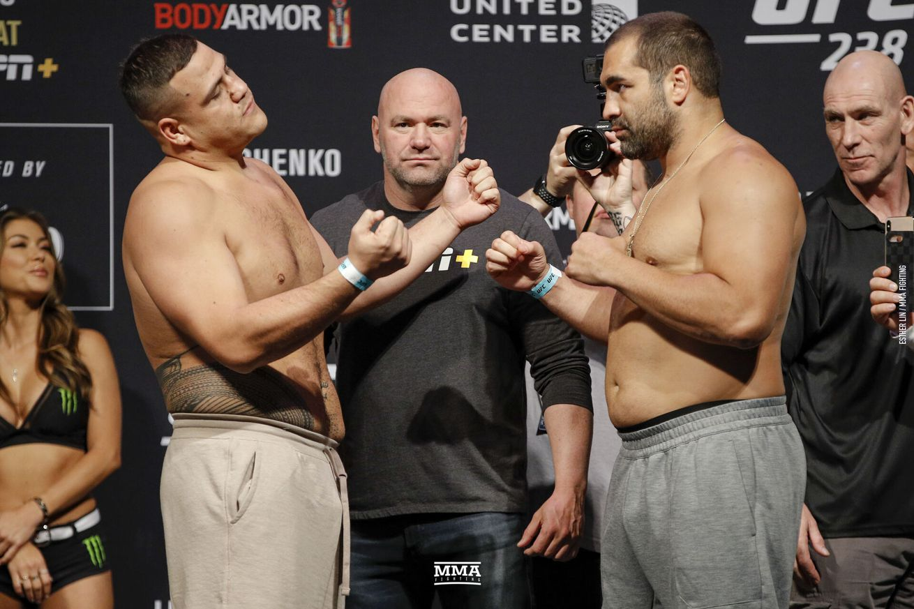 Tai Tuivasa faces off with Blagoy Ivanov ahead of their heavyweight bout at UFC 238 on Saturday at United Center in Chicago