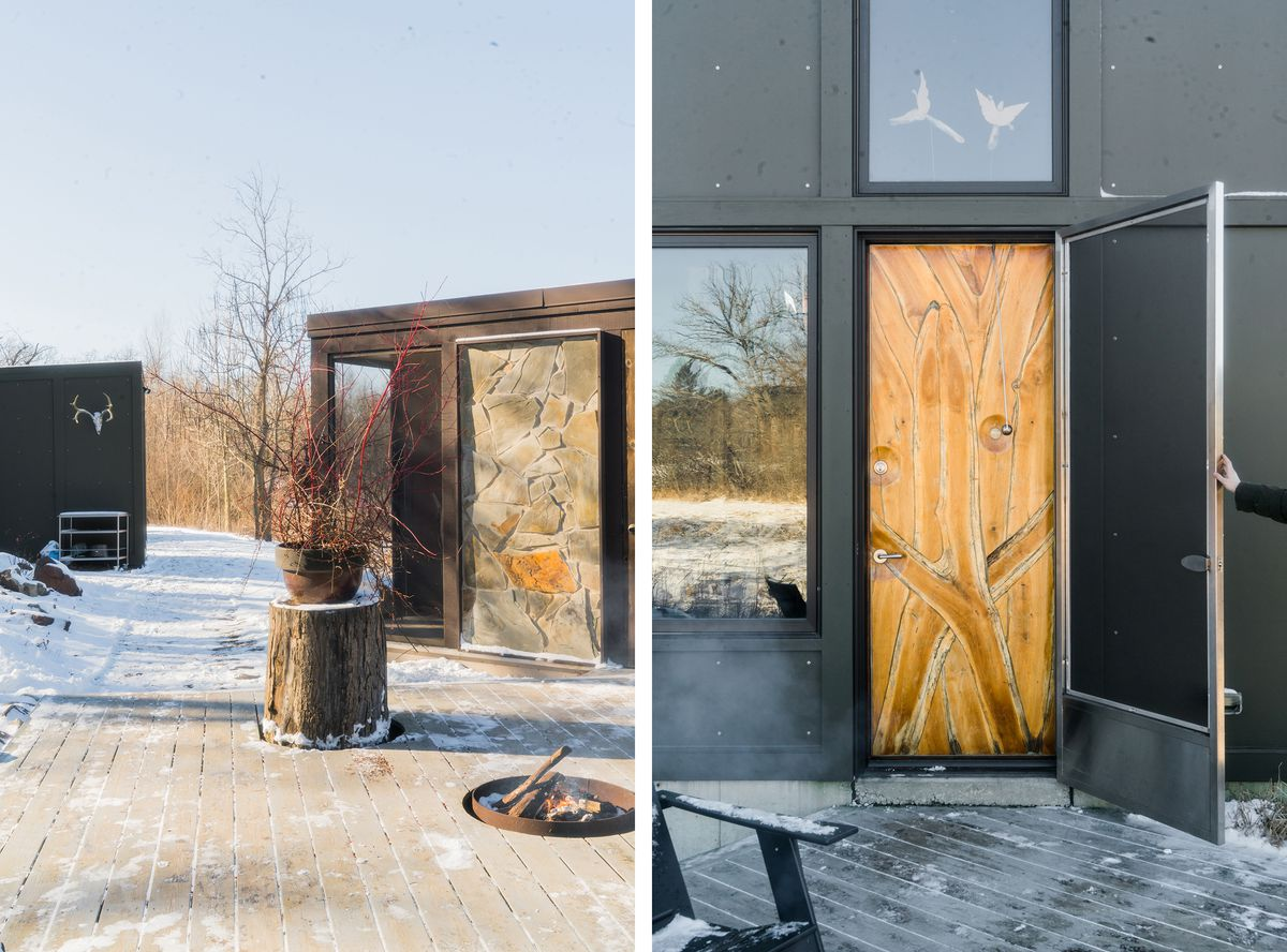 Exterior shots of the screened porch, the front door, and the deck.