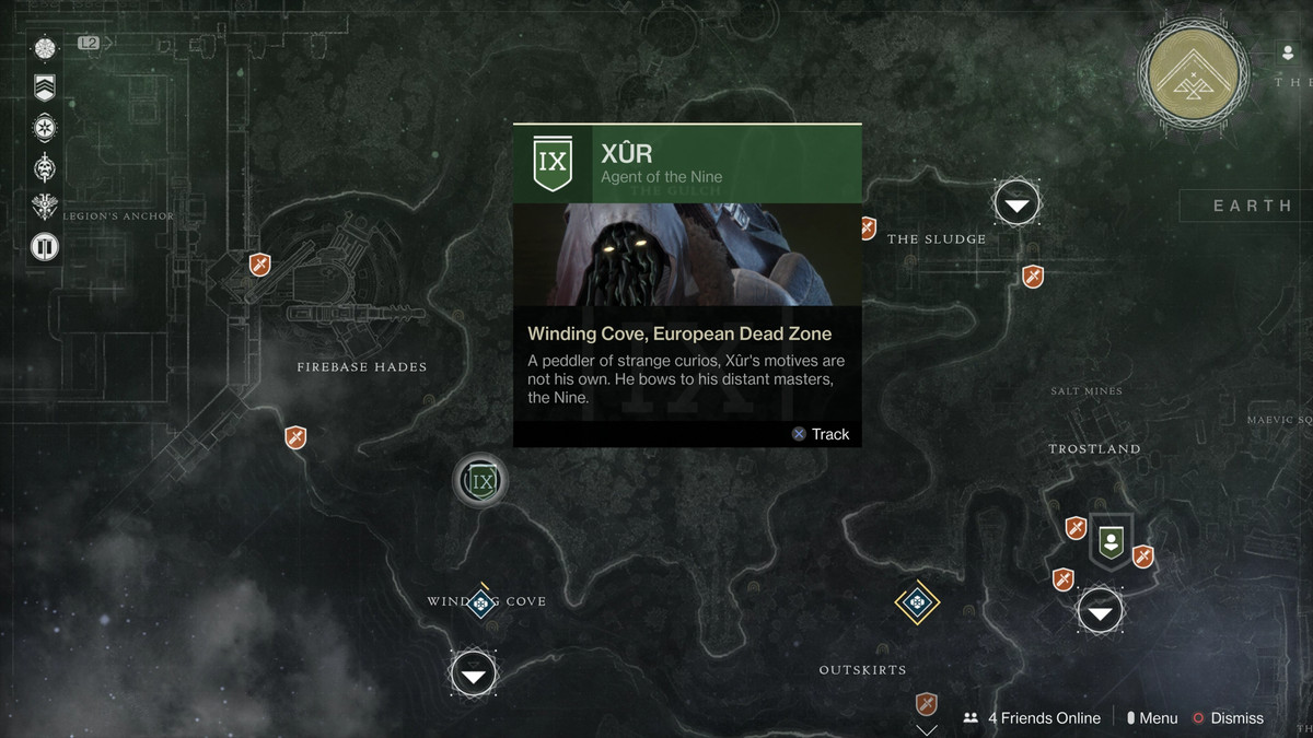 Xur in the EDZ in Destiny 2