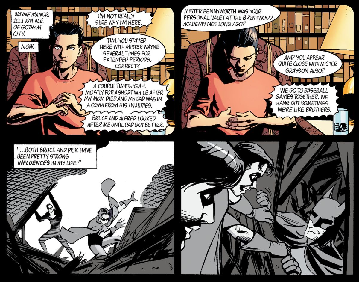 Tim Drake/Robin reflects on how Bruce Wayne and Dick Grayson have been big influences on him, in Batman: Gotham Knights #45, DC Comics (2003).