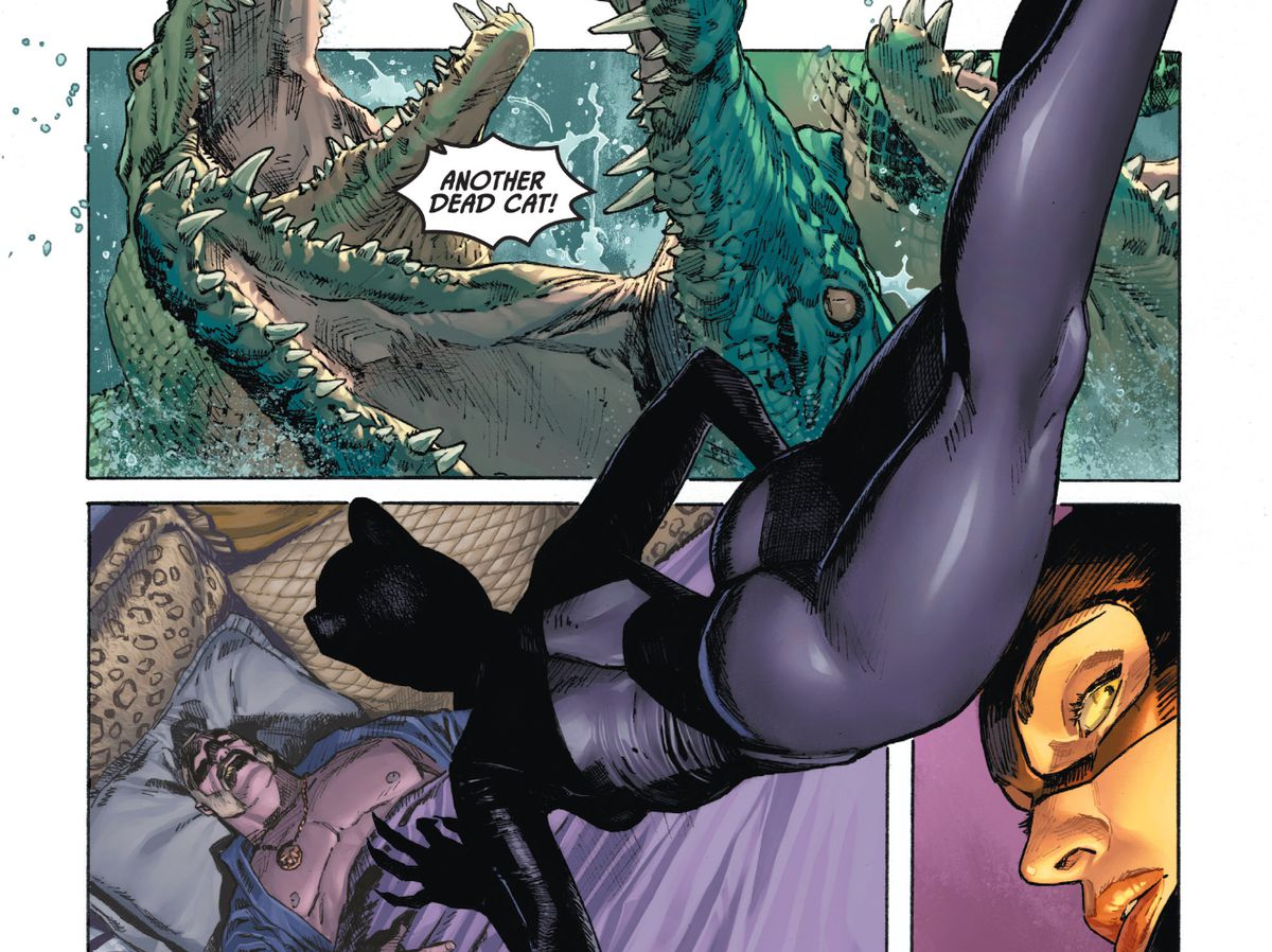 Catwoman Mission Impossibles down to a sleeping man in the second panel, with her body breaking the borders of the panel to also hang suspended over a first panel of snapping crocodile mouths and a third panel of her looking over her shoulder in Batman/Catwoman #1, DC Comics (2020).