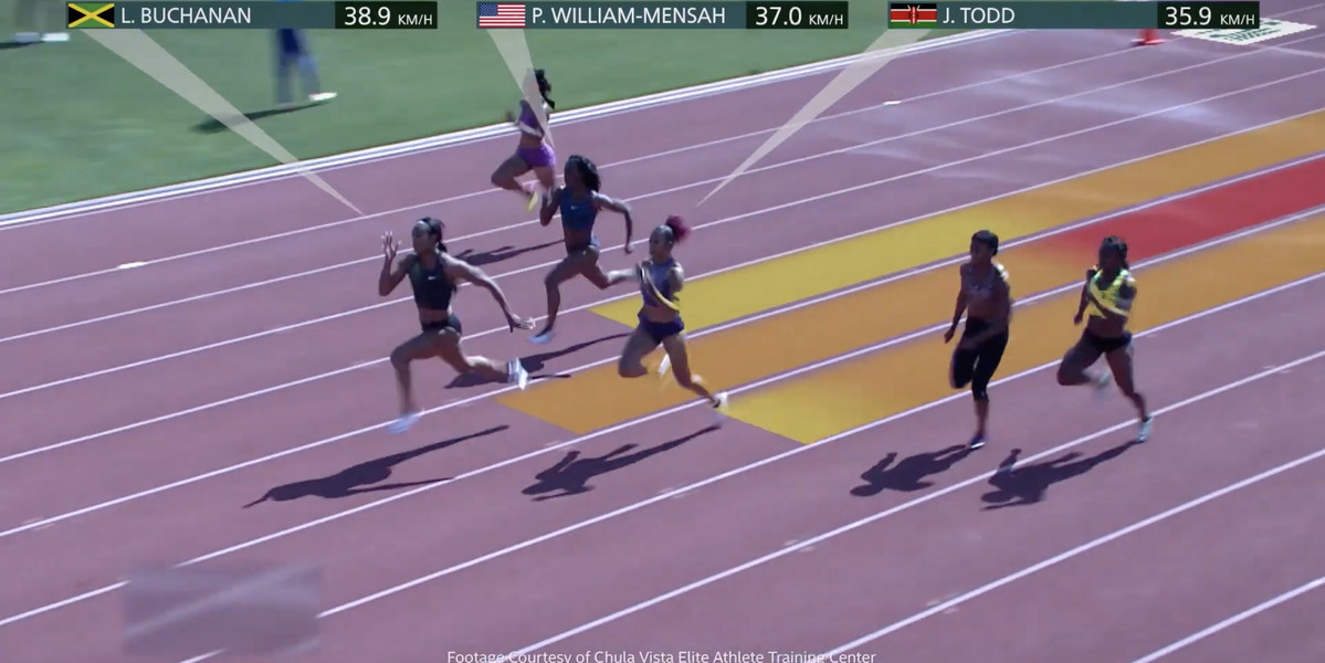 Colorful overlays will track athletes' speed during the 2020 Tokyo Olympics