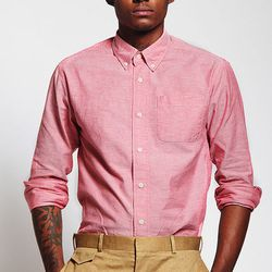"""Salmon long-sleeved oxford, <a href=""""http://thebkcircus.com/shop/salmon-long-sleeve-oxford/"""">$75</a> at Brooklyn Circus; real men wear pink"""