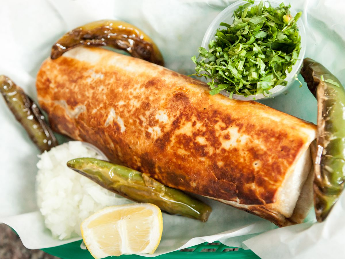 Carnitas burrito at La Taqueria