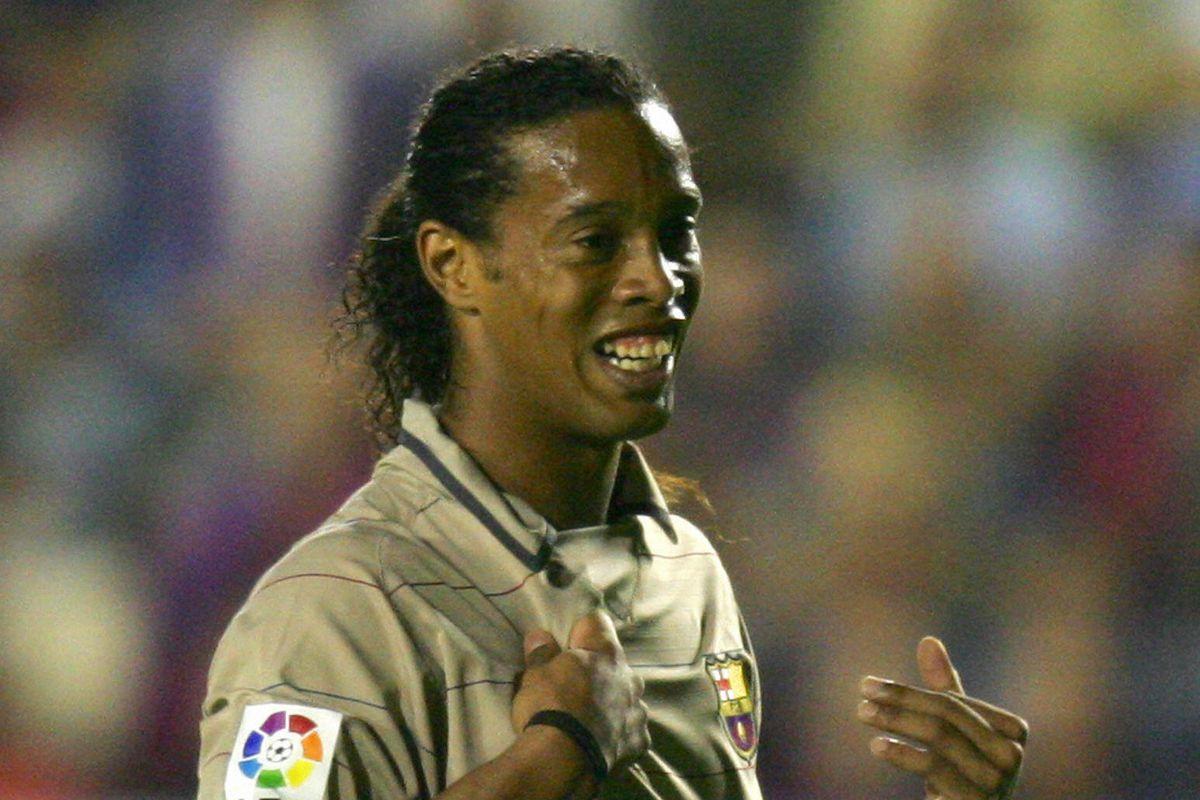Barcelona Brazilian Ronaldinho reacts af