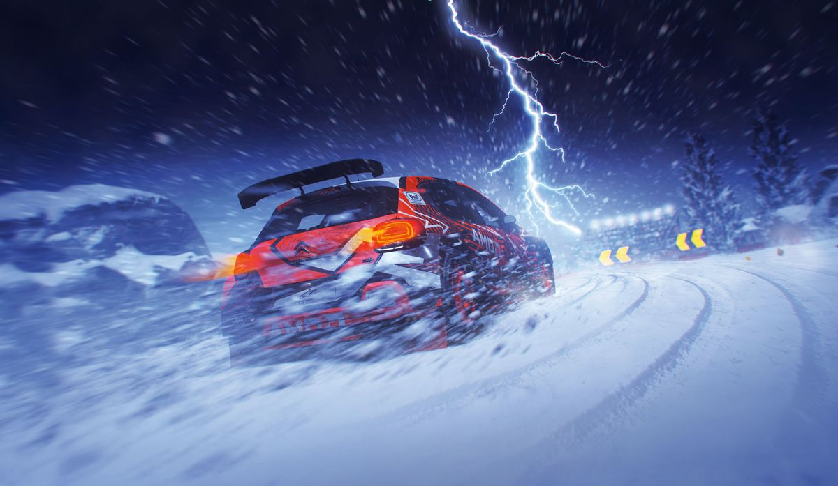 a car drives through a lightning storm at night in Dirt 5