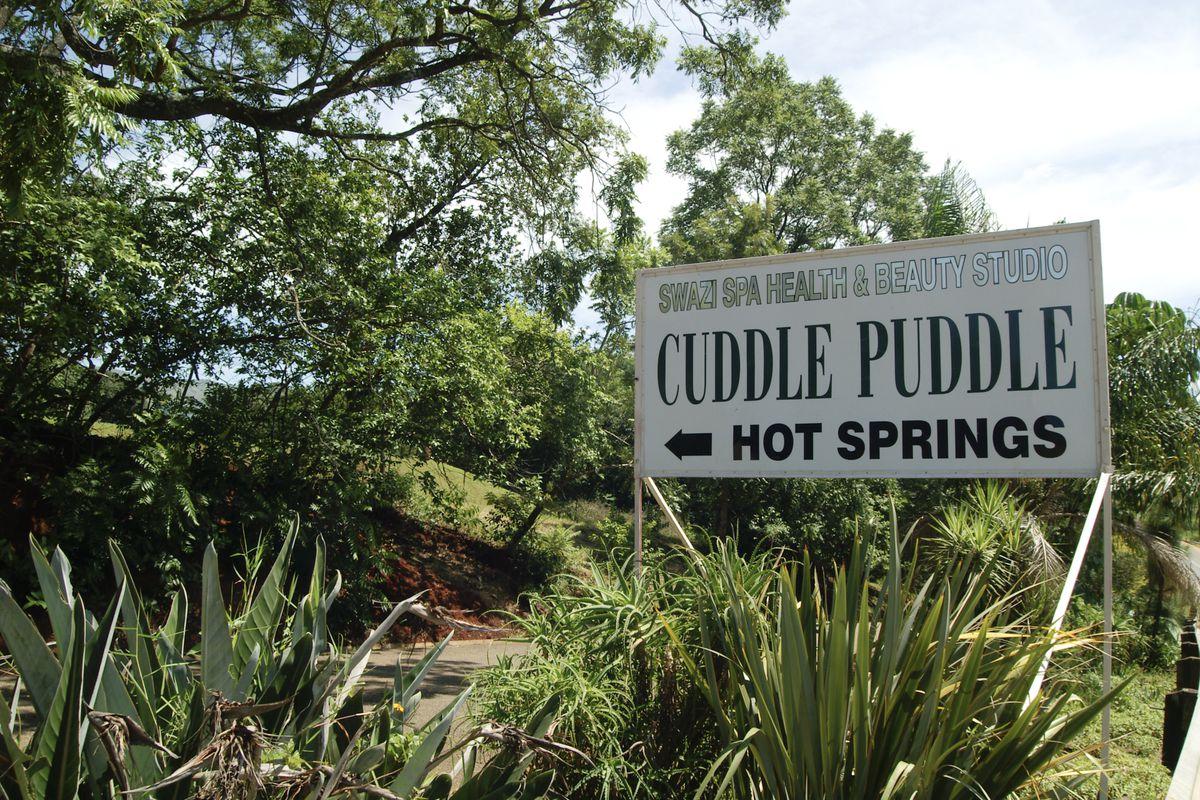 """Cuddle Puddle"" sign"