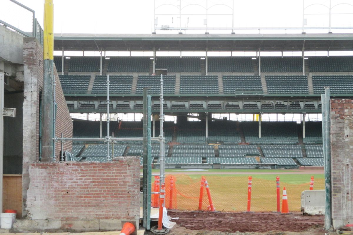 Here's what the right-field corner of the inner brick wall at Wrigley looked like on December 23