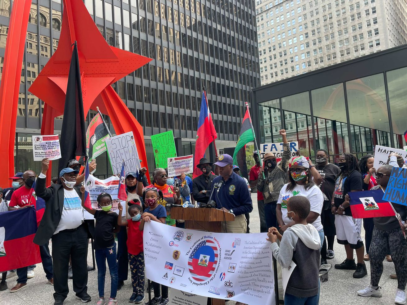 Chicagoans stand in solidarity with Haitian migrants mistreated at Texas border