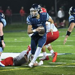 Nazareth's J.J McCarthy (2) tries to find a receiver. Worsom Robinson/For the Sun-Times.