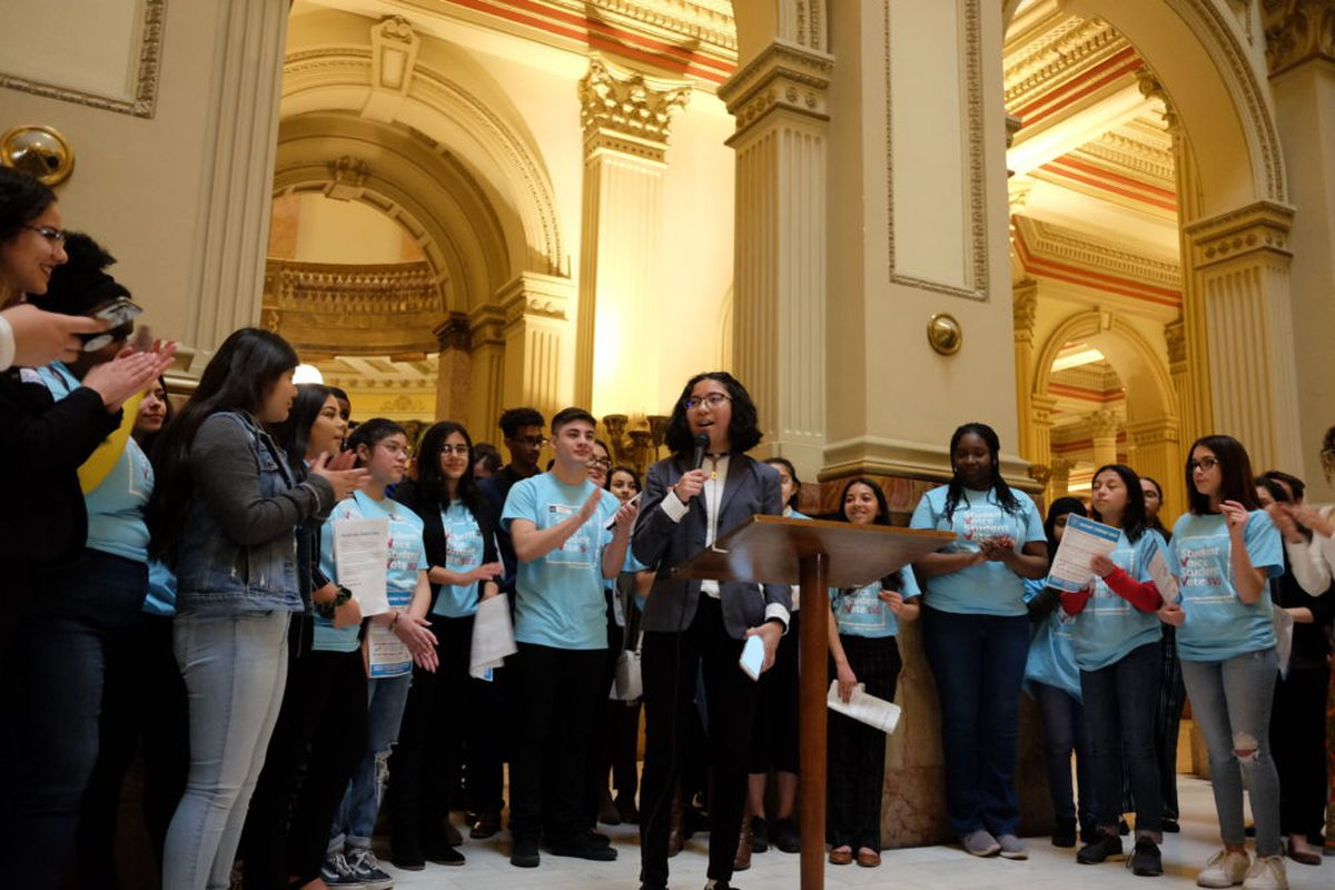 Celest Hutagalung, a student at DSST: Conservatory Green High School, joins other students to push a proposal to let 16- and 17-year-olds vote in school board elections.