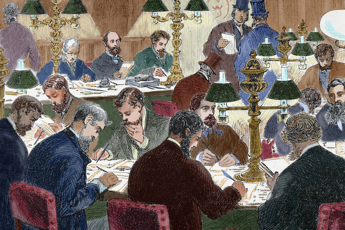 Brokers working in the mid-1800s.