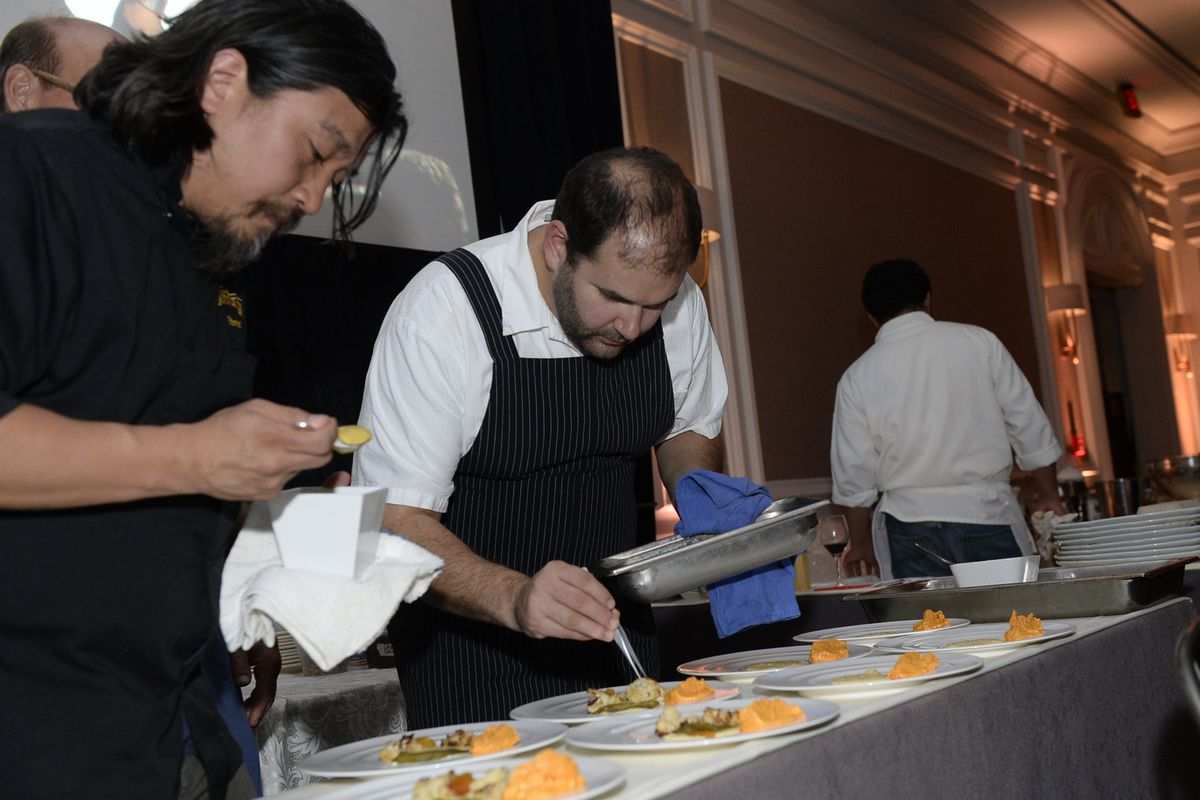 Chefs Ed Lee and Mike Friedman cook at Chefs for Equality