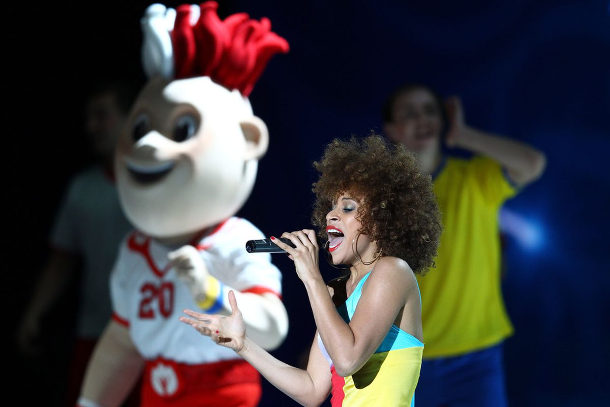 The two mascots they created for the Euros are super creepy. You can see the Polish one in the background here.